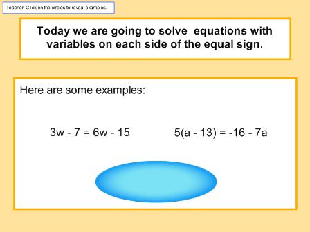 Solving Equations with the Variable on Each Side